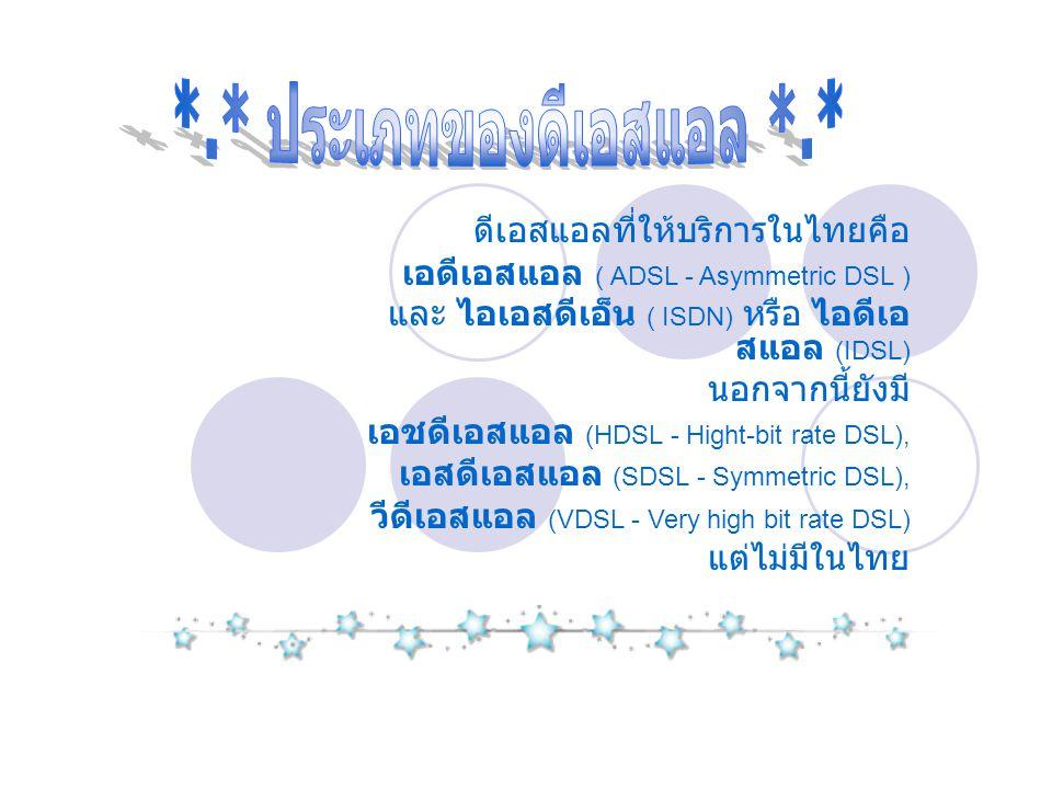 ดีเอสแอลที่ให้บริการในไทยคือ เอดีเอสแอล ( ADSL - Asymmetric DSL ) และ ไอเอสดีเอ็น ( ISDN) หรือ ไอดีเอ สแอล (IDSL) นอกจากนี้ยังมี เอชดีเอสแอล (HDSL - H