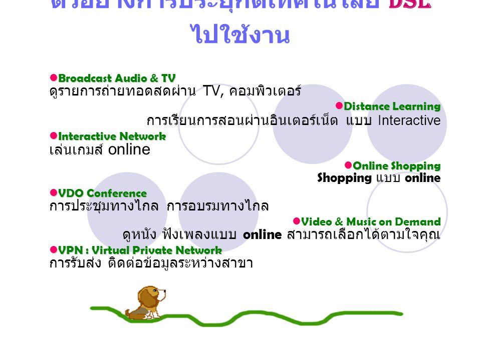 ตัวอย่างการประยุกต์เทคโนโลยี DSL ไปใช้งาน Broadcast Audio & TV Broadcast Audio & TV ดูรายการถ่ายทอดสดผ่าน TV, คอมพิวเตอร์ Distance Learning Distance Learning การเรียนการสอนผ่านอินเตอร์เน็ต แบบ Interactive Interactive Network Interactive Network เล่นเกมส์ online Online Shopping Online Shopping Shopping แบบ online VDO Conference VDO Conference การประชุมทางไกล การอบรมทางไกล Video & Music on Demand ดูหนัง ฟังเพลงแบบ online สามารถเลือกได้ตามใจคุณ VPN : Virtual Private Network VPN : Virtual Private Network การรับส่ง ติดต่อข้อมูลระหว่างสาขา