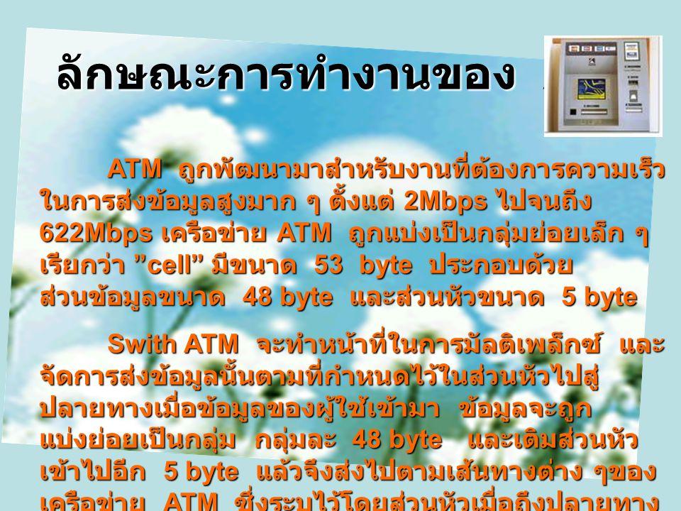 เทคโนโลยีเครือข่าย ATM ATM ย่อมาจาก Asynchronous Transfer Mode ซึ่งไม่ใช่ตู้ ATM ที่เรารู้จัก โดยที่ ATM ถูกพัฒนามาเพื่อให้ใช้งานที่มีลักษณะ ข้อมูลหลา