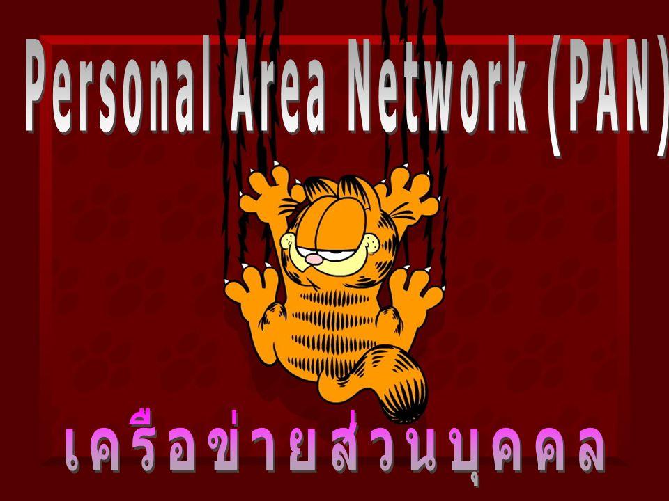 Personal Area Network (PAN) PAN คือ ระบบการติดต่อสื่อสารไร้สายส่วนบุคคล ย่อมาจาก Personal Area Network หรือเรียกว่า Bluetooth Personal Area Network (PAN) คือเทคโนโลยีการเข้าถึงไร้สายในพื้นที่เฉพาะส่วนบุคคล โดยมีระยะทางไม่เกิน 1 เมตร และมีอัตราการรับส่งข้อมูลความเร็วสูงมาก (สูงถึง 480 Mbps) ซึ่งเทคโนโลยีที่ใช้ กันแพร หลาย ก็เช่น Ultra Wide Band (UWB) ตามมาตรฐาน IEEE 802.15.3a Bluetooth ตามมาตรฐาน IEEE 802.15.1 Zigbee ตามมาตรฐาน IEEE 802.15.4 เทคโนโลยีเหล่านี้ใช้สำหรับการติดต่อสื่อสารระหว่างคอมพิวเตอร์และอุปกรณ์ต่อพ่วง (peripherals) ให้สามารถรับส่งข้อมูลถึงกันได้ และยังใช้สำหรับการรับส่งสัญญาณวิดีโอ ที่มีความละเอียดภาพสูง (high-definition video signal) ได้ด้วย