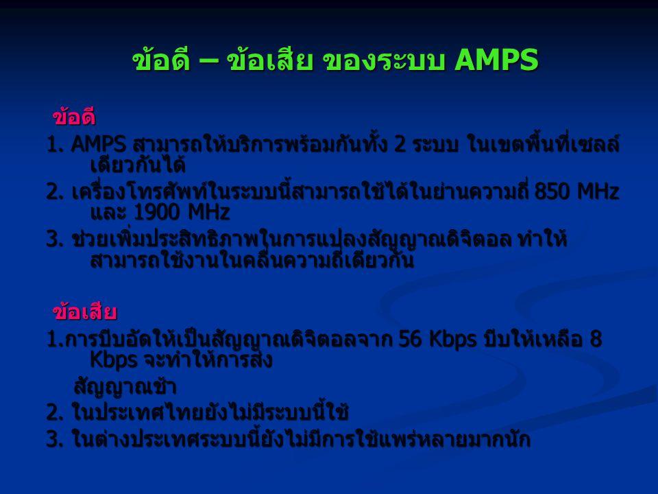 ข้อดี – ข้อเสีย ของระบบ AMPS ข้อดี ข้อดี 1. AMPS สามารถให้บริการพร้อมกันทั้ง 2 ระบบ ในเขตพื้นที่เซลล์ เดียวกันได้ 2. เครื่องโทรศัพท์ในระบบนี้สามารถใช้
