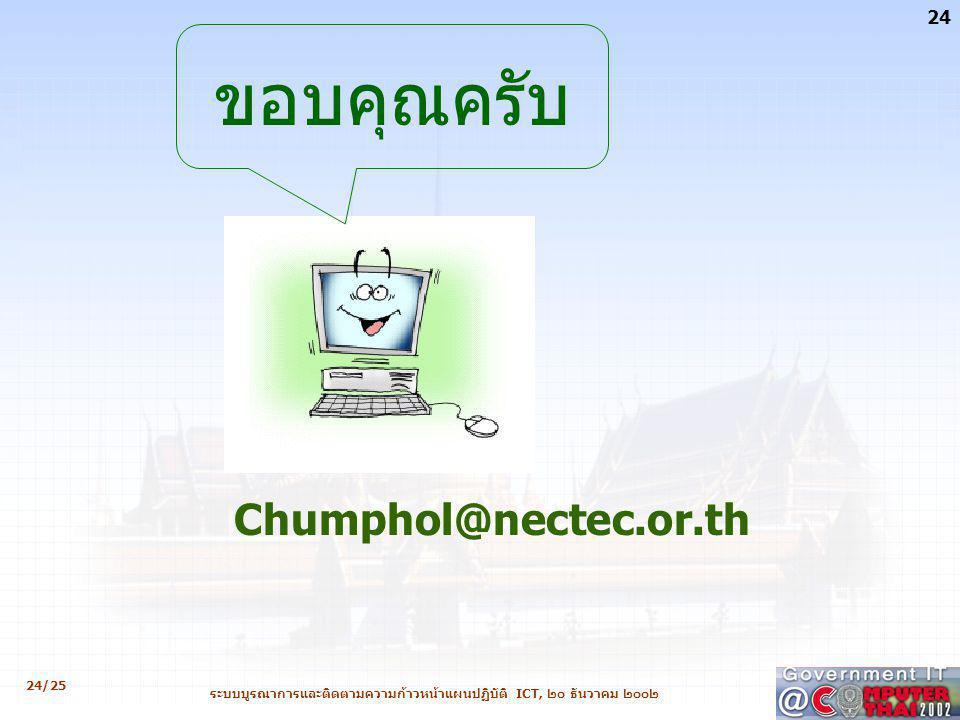 24/25 24 ระบบบูรณาการและติดตามความก้าวหน้าแผนปฏิบัติ ICT, ๒๐ ธันวาคม ๒๐๐๒ Chumphol@nectec.or.th ขอบคุณครับ