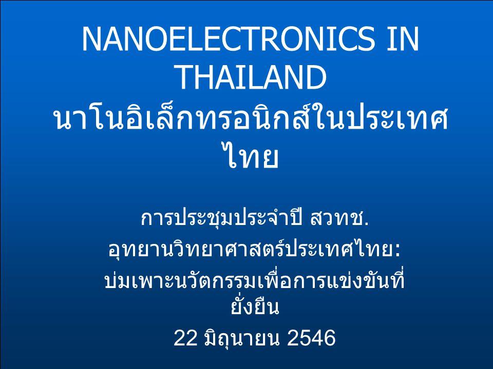 NANOELECTRONICS IN THAILAND นาโนอิเล็กทรอนิกส์ในประเทศ ไทย การประชุมประจำปี สวทช. อุทยานวิทยาศาสตร์ประเทศไทย : บ่มเพาะนวัตกรรมเพื่อการแข่งขันที่ ยั่งย