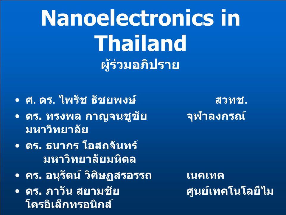 Nanoelectronics in Thailand ผู้ร่วมอภิปราย ศ. ดร. ไพรัช ธัชยพงษ์สวทช. ดร. ทรงพล กาญจนชูชัย จุฬาลงกรณ์ มหาวิทยาลัย ดร. ธนากร โอสถจันทร์ มหาวิทยาลัยมหิด