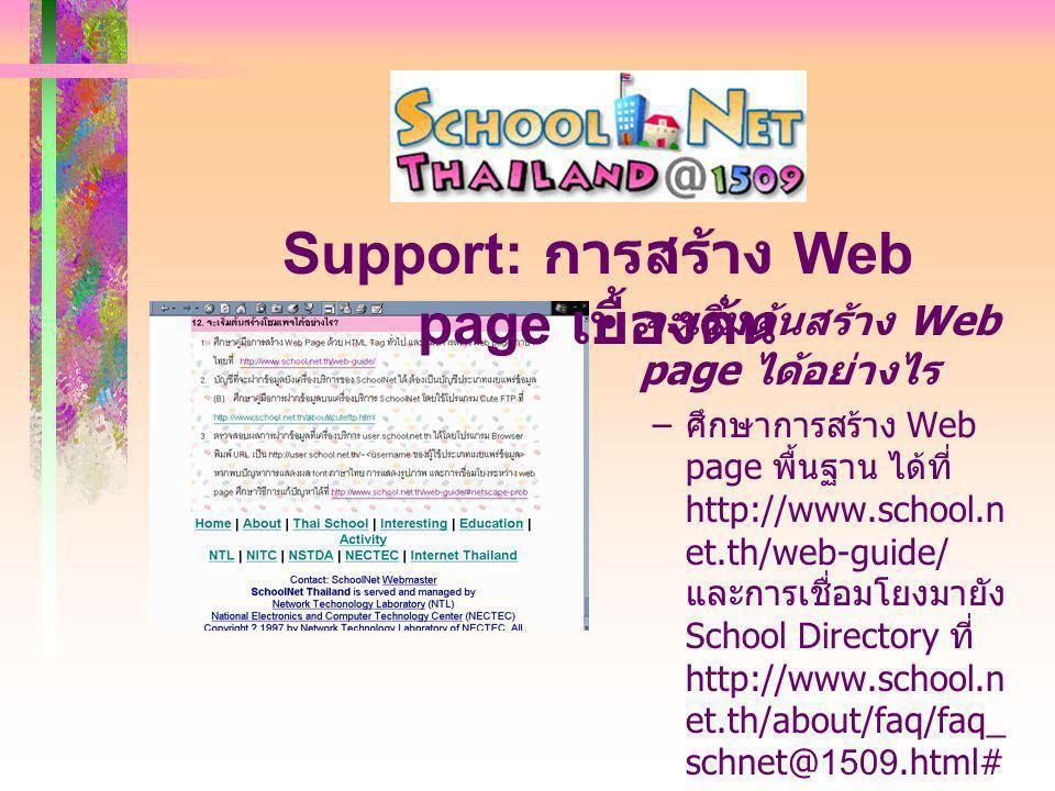 จะเริ่มต้นสร้าง Web page ได้อย่างไร – ศึกษาการสร้าง Web page พื้นฐาน ได้ที่ http://www.school.n et.th/web-guide/ และการเชื่อมโยงมายัง School Directory ที่ http://www.school.n et.th/about/faq/faq_ schnet@1509.html# 12 Support: การสร้าง Web page เบื้องต้น