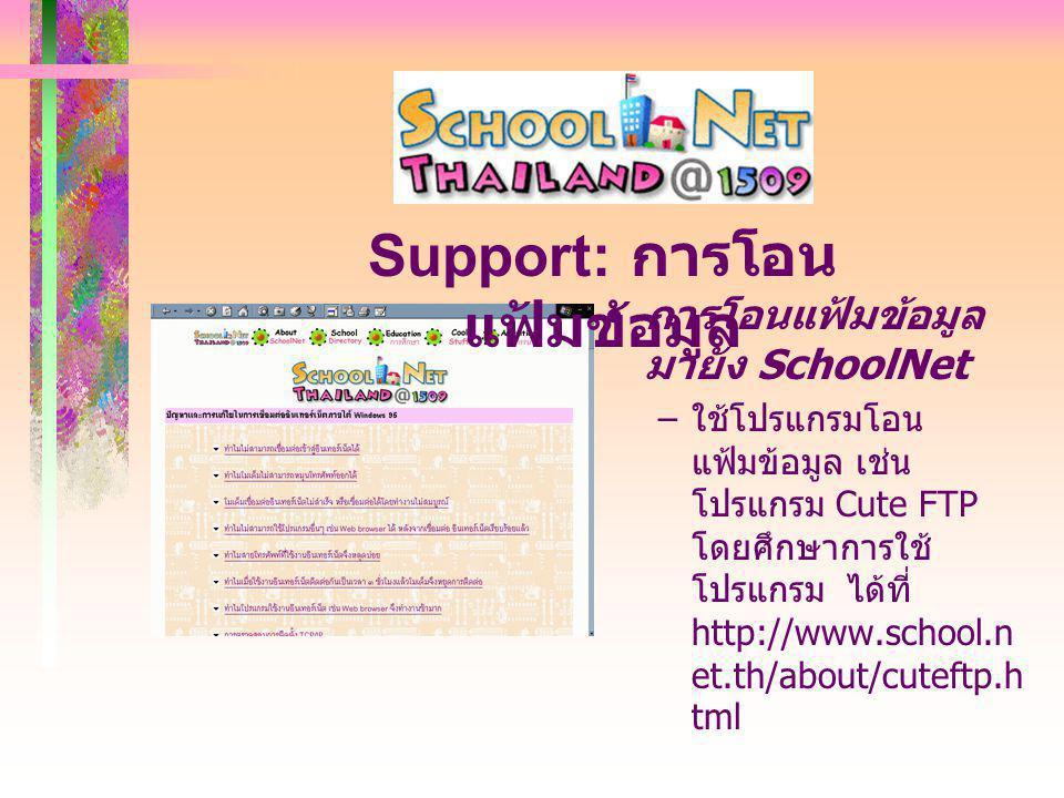 การโอนแฟ้มข้อมูล มายัง SchoolNet – ใช้โปรแกรมโอน แฟ้มข้อมูล เช่น โปรแกรม Cute FTP โดยศึกษาการใช้ โปรแกรม ได้ที่ http://www.school.n et.th/about/cuteftp.h tml Support: การโอน แฟ้มข้อมูล