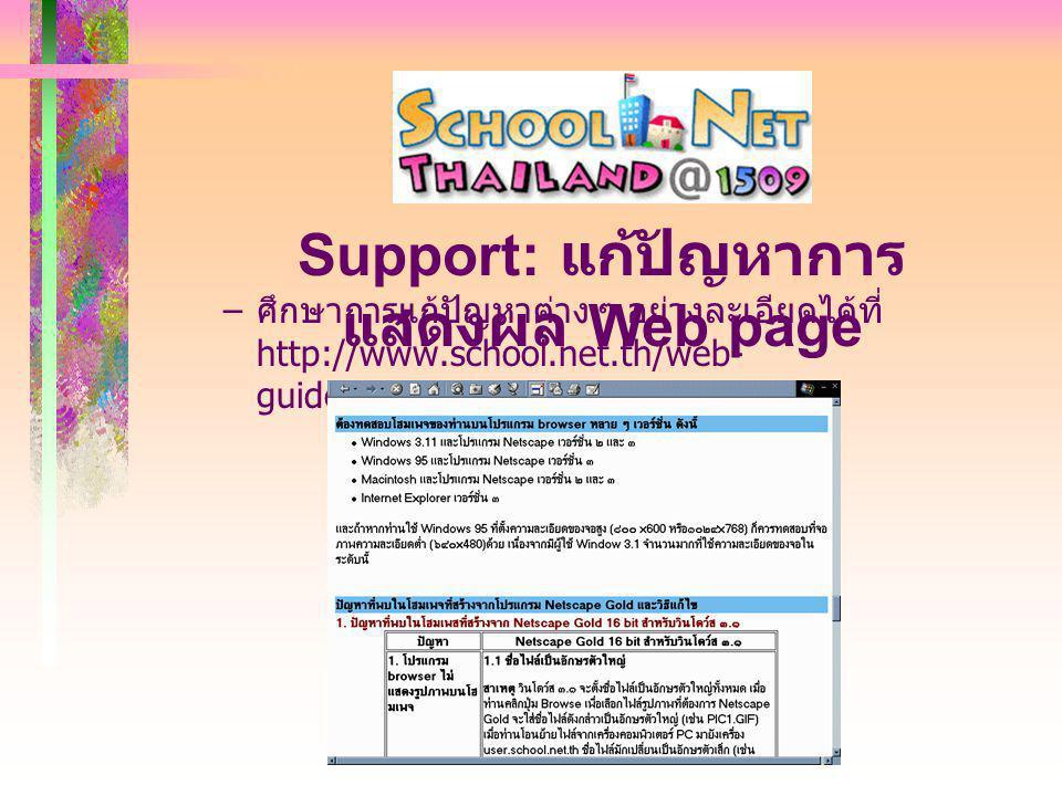 – ศึกษาการแก้ปัญหาต่าง ๆ อย่างละเอียดได้ที่ http://www.school.net.th/web- guide/#netscape_prob Support: แก้ปัญหาการ แสดงผล Web page