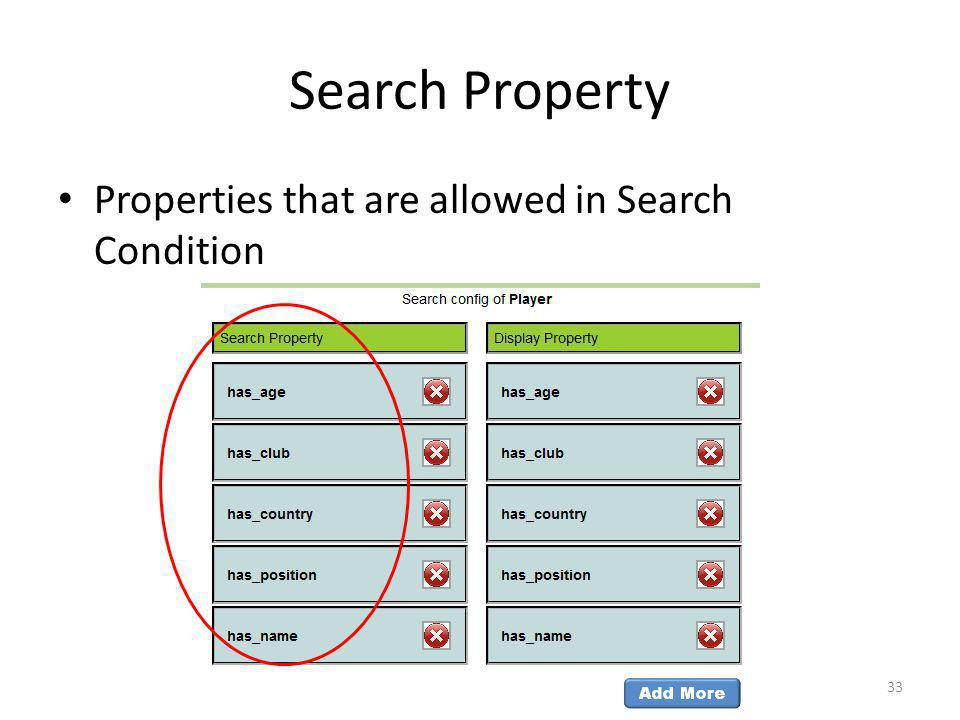 Search Property Properties that are allowed in Search Condition 33