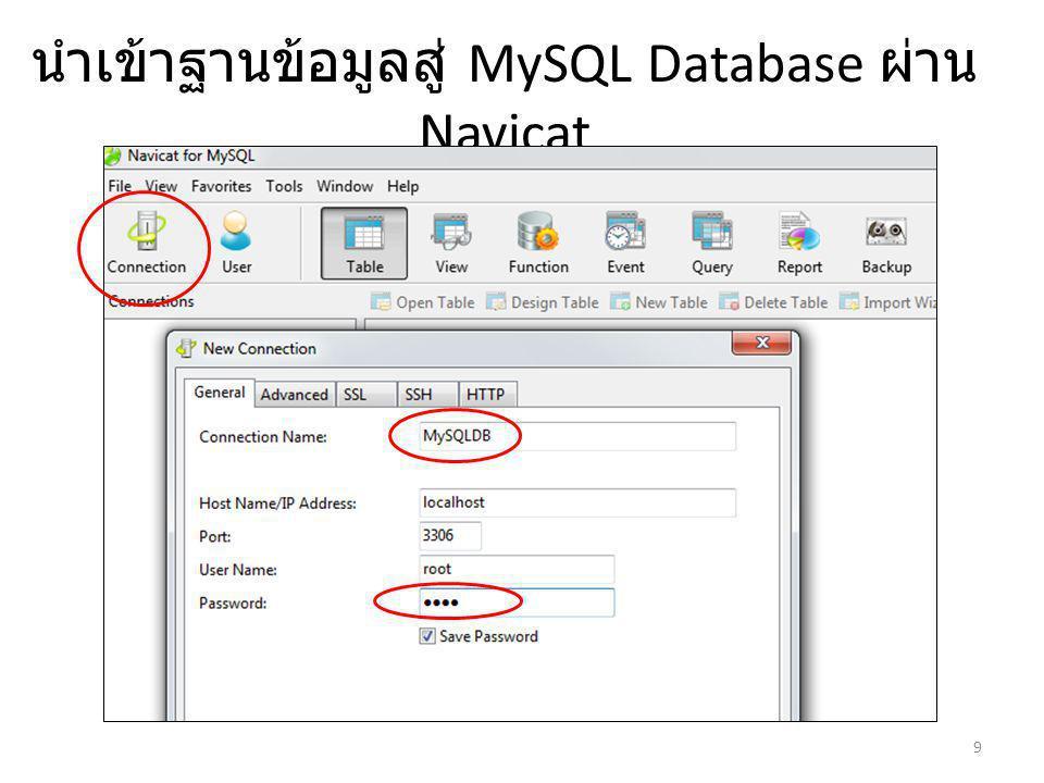 นำเข้าฐานข้อมูลสู่ MySQL Database ผ่าน Navicat 9