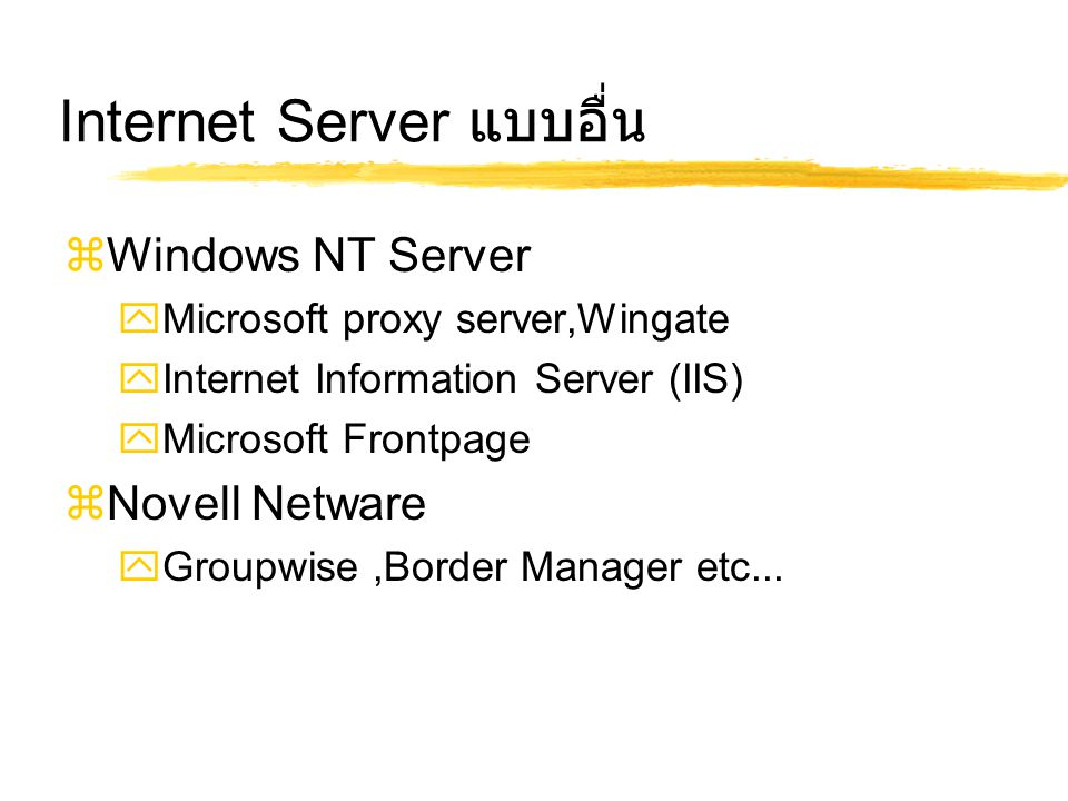 Internet Server แบบอื่น  Windows NT Server  Microsoft proxy server,Wingate  Internet Information Server (IIS)  Microsoft Frontpage  Novell Netware  Groupwise,Border Manager etc...