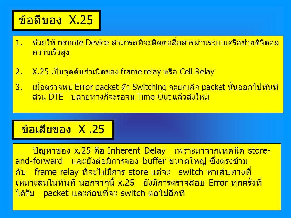ข้อดีของ X.25 1.ช่วยให้ remote Device สามารถที่จะติดต่อสื่อสารผ่านระบบเครือข่ายดิจิตอล ความเร็วสูง 2.X.25 เป็นจุดต้นกำเนิดของ frame relay หรือ Cell Relay 3.เมื่อตรวจพบ Error packet ตัว Switching จะยกเลิก packet นั้นออกไปทันที ส่วน DTE ปลายทางก็จะรอจน Time-Out แล้วส่งใหม่ ข้อเสียของ X.25 ปัญหาของ x.25 คือ Inherent Delay เพราะมาจากเทคนิค store- and-forward และยังต่อมีการจอง buffer ขนาดใหญ่ ซึ่งตรงข้าม กับ frame relay ที่จะไม่มีการ store แต่จะ switch หาเส้นทางที่ เหมาะสมในทันที นอกจากนี้ x.25 ยังมีการตรวจสอบ Error ทุกครั้งที่ ได้รับ packet และก่อนที่จะ switch ต่อไปอีกที่