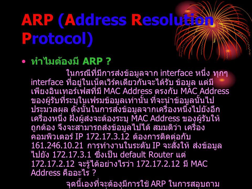 ARP (Address Resolution Protocol) ทำไมต้องมี ARP ? ในกรณีที่มีการส่งข้อมูลจาก interface หนึ่ง ทุกๆ interface ที่อยู่ในเน็ตเวิร์คเดียวกันจะได้รับ ข้อมู