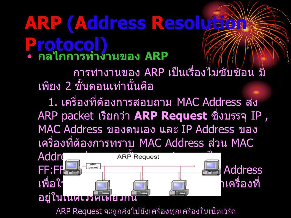 ARP (Address Resolution Protocol) กลไกการทำงานของ ARP การทำงานของ ARP เป็นเรื่องไม่ซับซ้อน มี เพียง 2 ขั้นตอนเท่านั้นคือ 1. เครื่องที่ต้องการสอบถาม MA