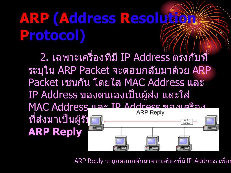 ARP (Address Resolution Protocol) 2. เฉพาะเครื่องที่มี IP Address ตรงกับที่ ระบุใน ARP Packet จะตอบกลับมาด้วย ARP Packet เช่นกัน โดยใส่ MAC Address แล
