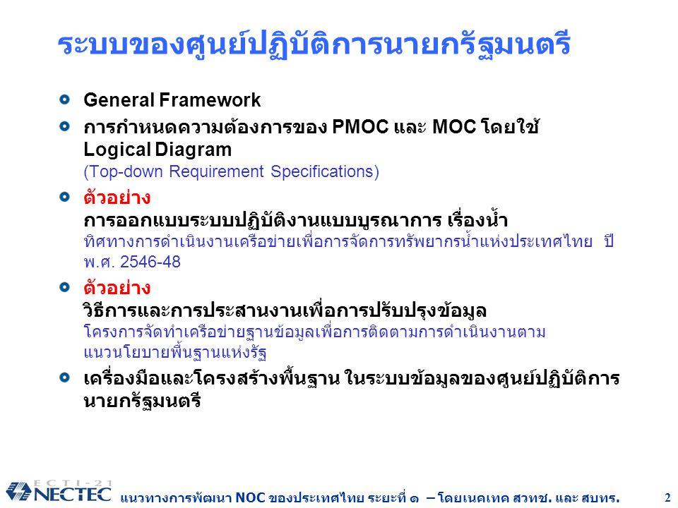 แนวทางการพัฒนา NOC ของประเทศไทย ระยะที่ ๑ – โดยเนคเทค สวทช. และ สบทร. 2 ระบบของศูนย์ปฏิบัติการนายกรัฐมนตรี General Framework การกำหนดความต้องการของ PM