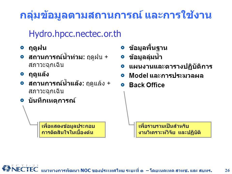 แนวทางการพัฒนา NOC ของประเทศไทย ระยะที่ ๑ – โดยเนคเทค สวทช. และ สบทร. 26 กลุ่มข้อมูลตามสถานการณ์ และการใช้งาน ฤดูฝน สถานการณ์น้ำท่วม : ฤดูฝน + สภาวะฉุ