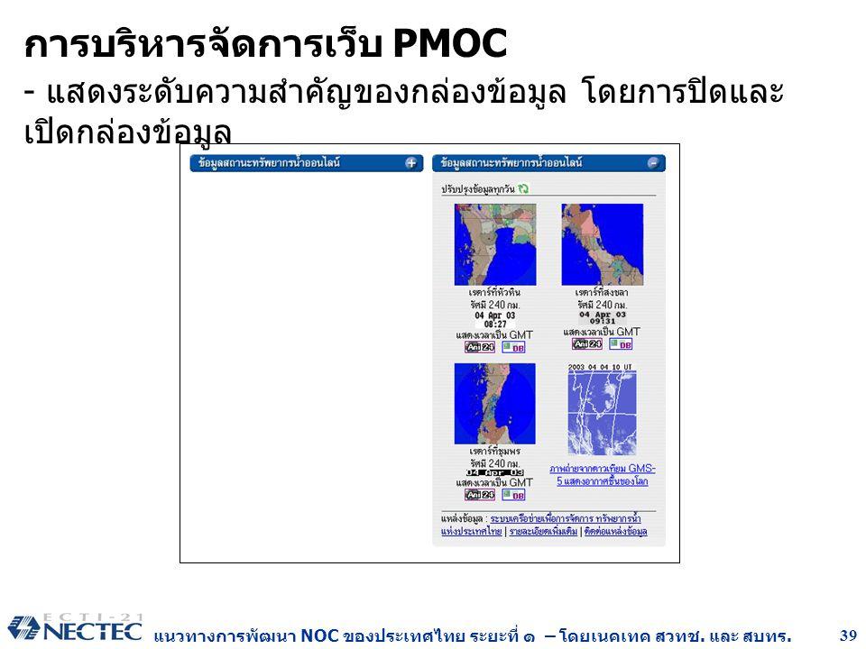 แนวทางการพัฒนา NOC ของประเทศไทย ระยะที่ ๑ – โดยเนคเทค สวทช. และ สบทร. 39 การบริหารจัดการเว็บ PMOC - แสดงระดับความสำคัญของกล่องข้อมูล โดยการปิดและ เปิด