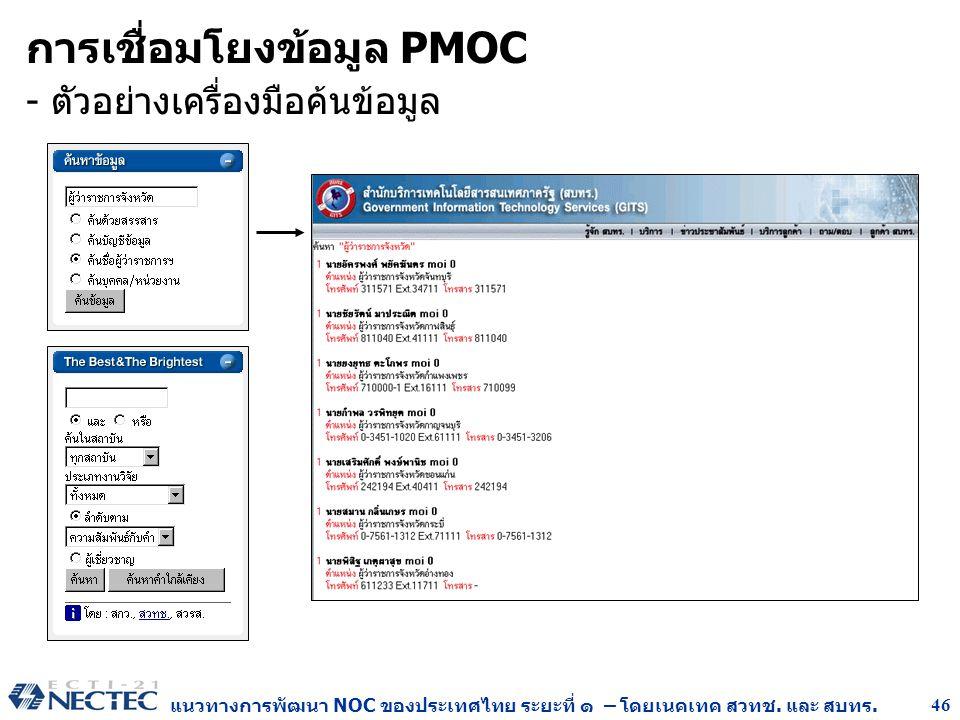 แนวทางการพัฒนา NOC ของประเทศไทย ระยะที่ ๑ – โดยเนคเทค สวทช. และ สบทร. 46 การเชื่อมโยงข้อมูล PMOC - ตัวอย่างเครื่องมือค้นข้อมูล