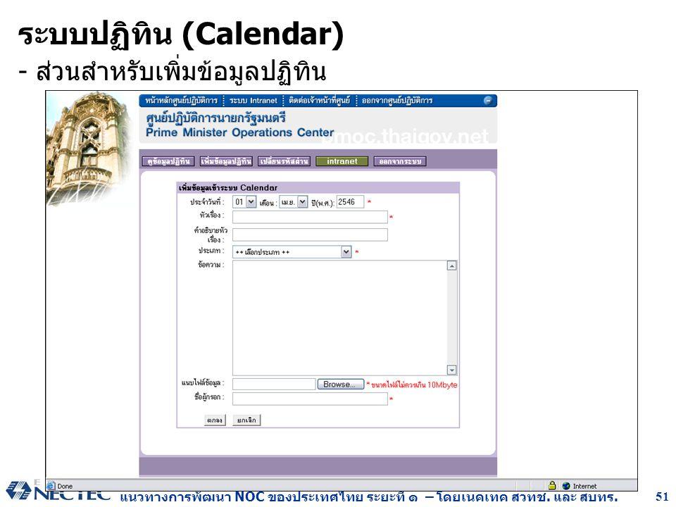 แนวทางการพัฒนา NOC ของประเทศไทย ระยะที่ ๑ – โดยเนคเทค สวทช. และ สบทร. 51 - ส่วนสำหรับเพิ่มข้อมูลปฏิทิน ระบบปฏิทิน (Calendar)