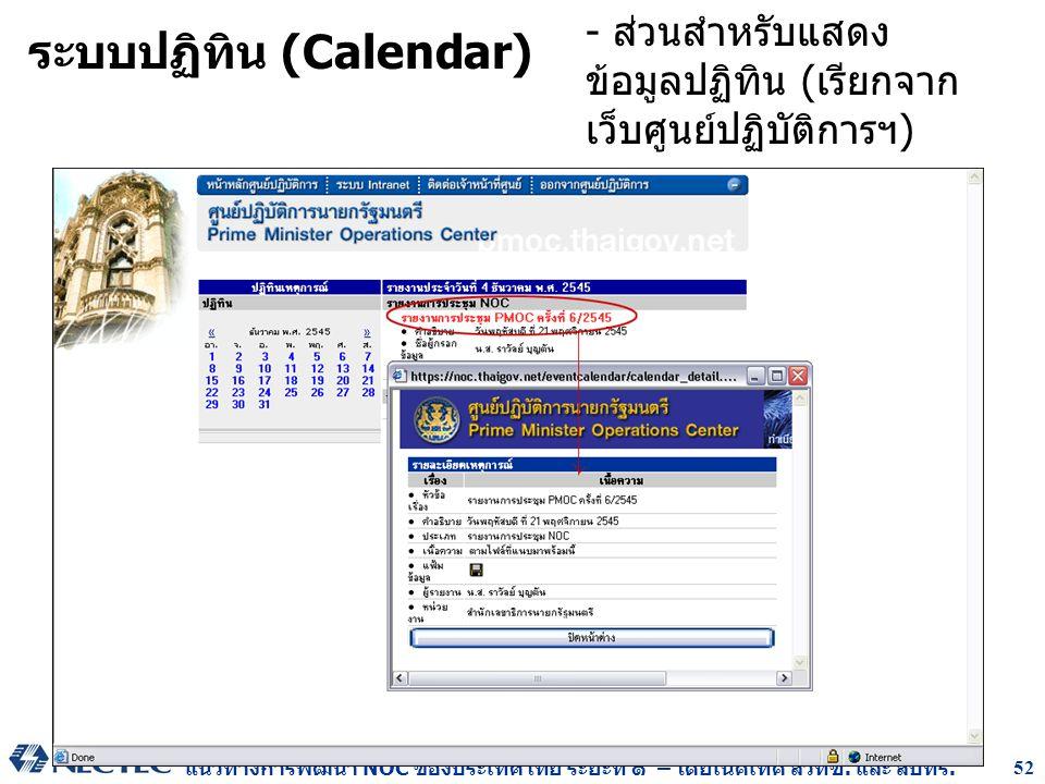 แนวทางการพัฒนา NOC ของประเทศไทย ระยะที่ ๑ – โดยเนคเทค สวทช. และ สบทร. 52 ระบบปฏิทิน (Calendar) - ส่วนสำหรับแสดง ข้อมูลปฏิทิน (เรียกจาก เว็บศูนย์ปฏิบัต