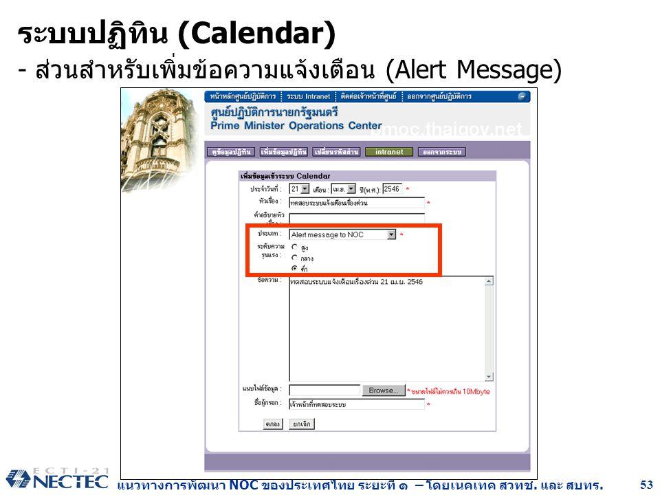แนวทางการพัฒนา NOC ของประเทศไทย ระยะที่ ๑ – โดยเนคเทค สวทช. และ สบทร. 53 ระบบปฏิทิน (Calendar) - ส่วนสำหรับเพิ่มข้อความแจ้งเตือน (Alert Message)