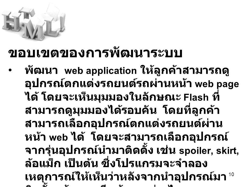 10 ขอบเขตของการพัฒนาระบบ พัฒนา web application ให้ลูกค้าสามารถดู อุปกรณ์ตกแต่งรถยนต์รถผ่านหน้า web page ได้ โดยจะเห็นมุมมองในลักษณะ Flash ที่ สามารถดู
