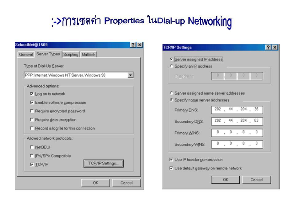 :-> ติดตั้ง Modem :-> ติดตั้ง Dial-up Networking :-> เพิ่มบริการ Remote Access Service :-> เพิ่ม Protocol TCP/IP :-> สร้าง Phone Book Entry ใน Dial-up Networking และ Set Properties โดยเลือก Server -> TCP/IP Settings แล้ว Set Primary DNS:202.44.204.36 Secondary DNS:202.44.204.63