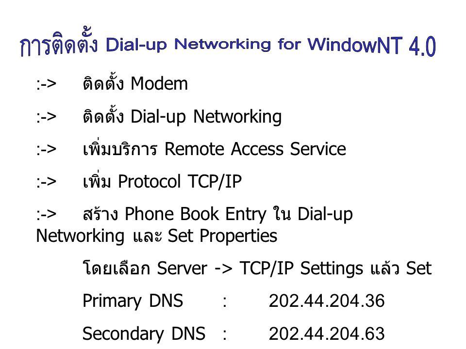 ทำการ add Remote Access Service โดยการคลิกเมาส์ขวา ที่ไอคอน Network Neigborhood ที่อยู่ บน Destop เลือก Properties, เลือกแถบ Services หลังจากนั้น กดปุ่ม Add เลือก Remote Access Service ( ขณะทำ ขั้นตอนนี้ยังใส่แผ่น Windows NT อยู่ ) จากนั้นทำการ restart เครื่องคตอมพิวเตอร์