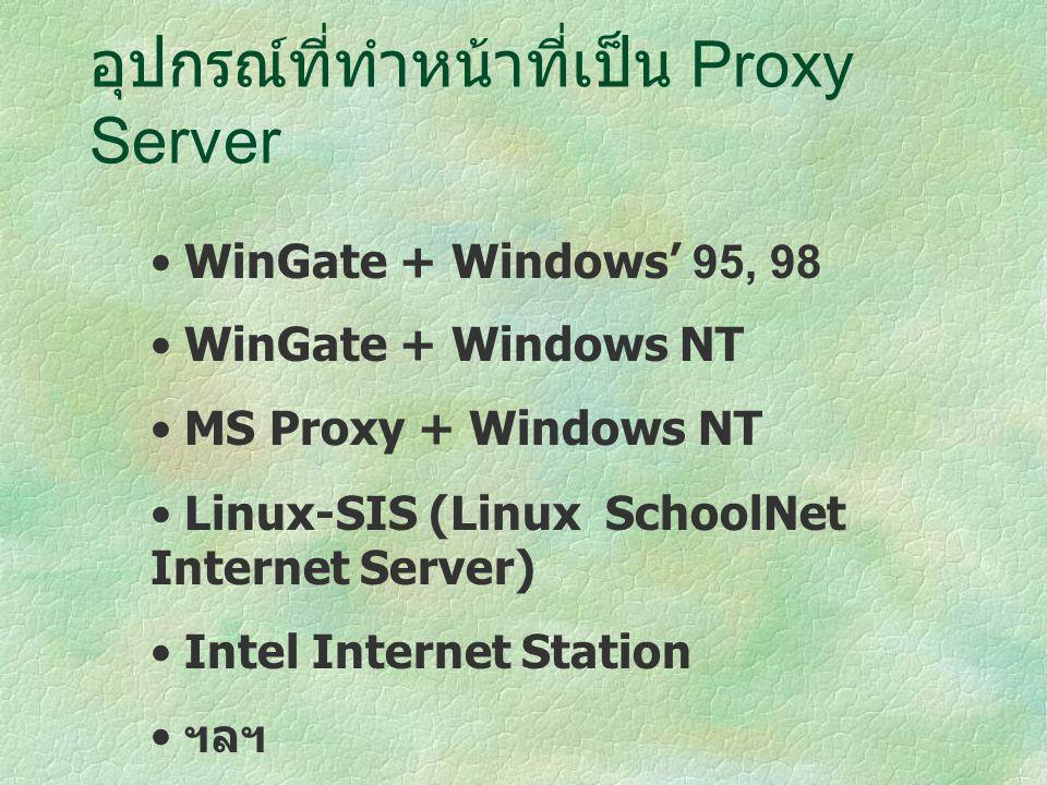 อุปกรณ์ที่ทำหน้าที่เป็น Proxy Server WinGate + Windows' 95, 98 WinGate + Windows NT MS Proxy + Windows NT Linux-SIS (Linux SchoolNet Internet Server) Intel Internet Station ฯลฯ