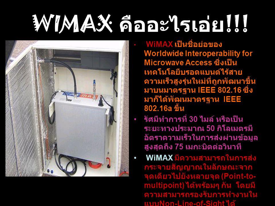WiMAX เป็นชื่อย่อของ Worldwide Interoperability for Microwave Access ซึ่งเป็น เทคโนโลยีบรอดแบนด์ไร้สาย ความเร็วสูงรุ่นใหม่ที่ถูกพัฒนาขึ้น มาบนมาตรฐาน