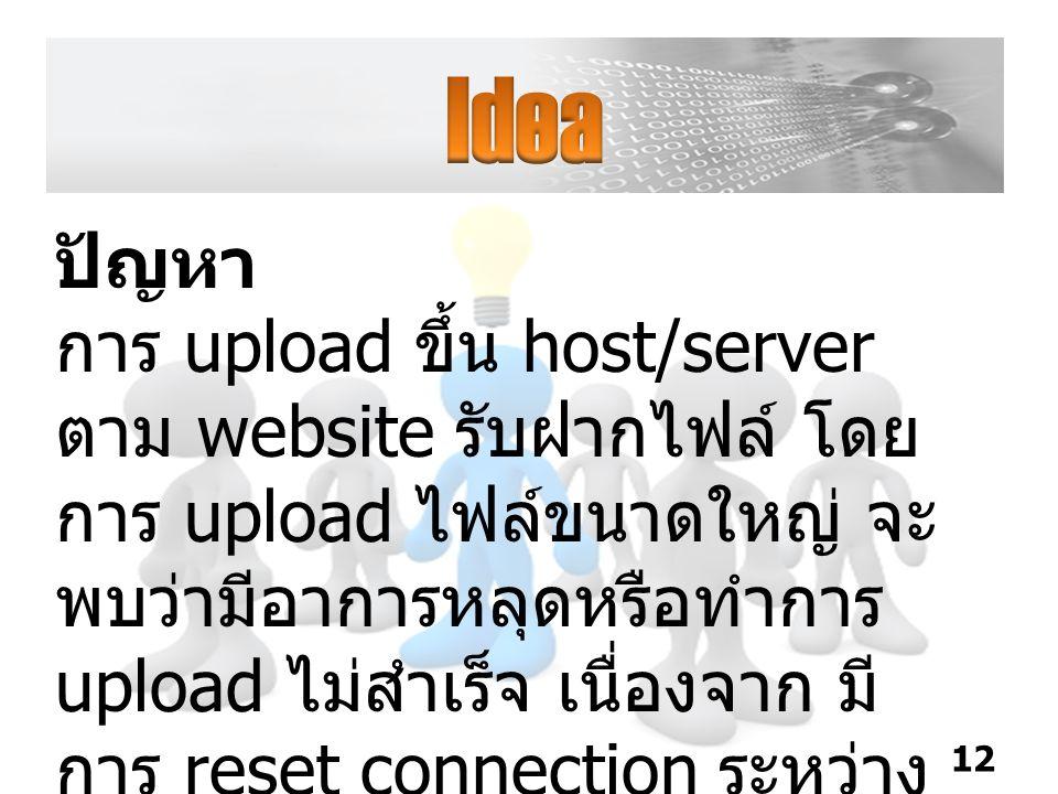 ปัญหา การ upload ขึ้น host/server ตาม website รับฝากไฟล์ โดย การ upload ไฟล์ขนาดใหญ่ จะ พบว่ามีอาการหลุดหรือทำการ upload ไม่สำเร็จ เนื่องจาก มี การ reset connection ระหว่าง client กับ server 12