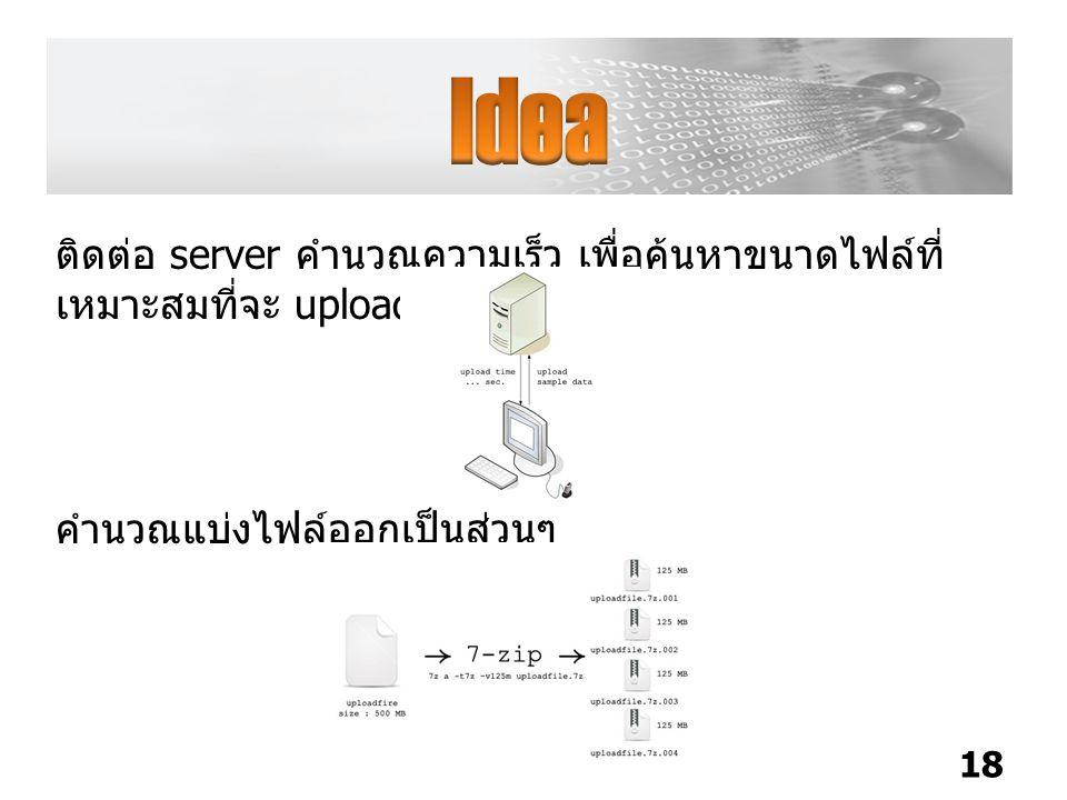 ติดต่อ server คำนวณความเร็ว เพื่อค้นหาขนาดไฟล์ที่ เหมาะสมที่จะ upload สำเร็จ 18 คำนวณแบ่งไฟล์ออกเป็นส่วนๆ