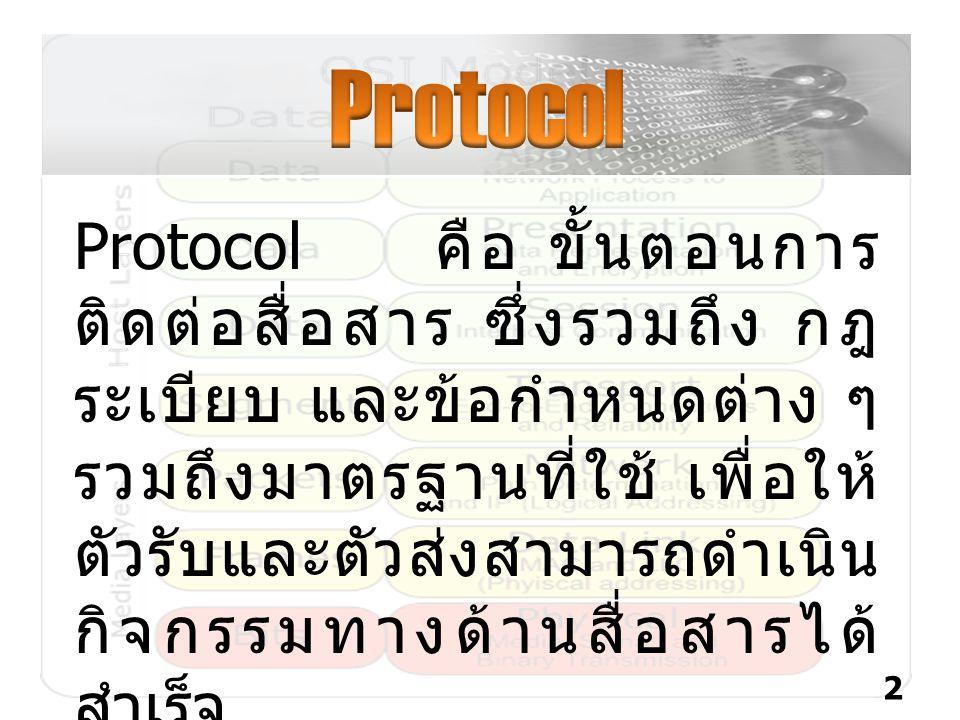 Protocol คือ ขั้นตอนการ ติดต่อสื่อสาร ซึ่งรวมถึง กฎ ระเบียบ และข้อกำหนดต่าง ๆ รวมถึงมาตรฐานที่ใช้ เพื่อให้ ตัวรับและตัวส่งสามารถดำเนิน กิจกรรมทางด้านส