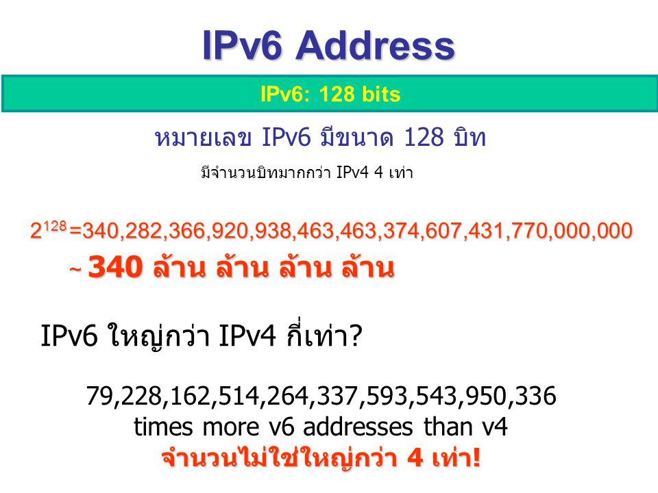 IPv6 Address IPv6: 128 bits 2 128 =340,282,366,920,938,463,463,374,607,431,770,000,000 ~ 340 ล้าน ล้าน ล้าน ล้าน 79,228,162,514,264,337,593,543,950,336 times more v6 addresses than v4 จำนวนไม่ใช่ใหญ่กว่า 4 เท่า.