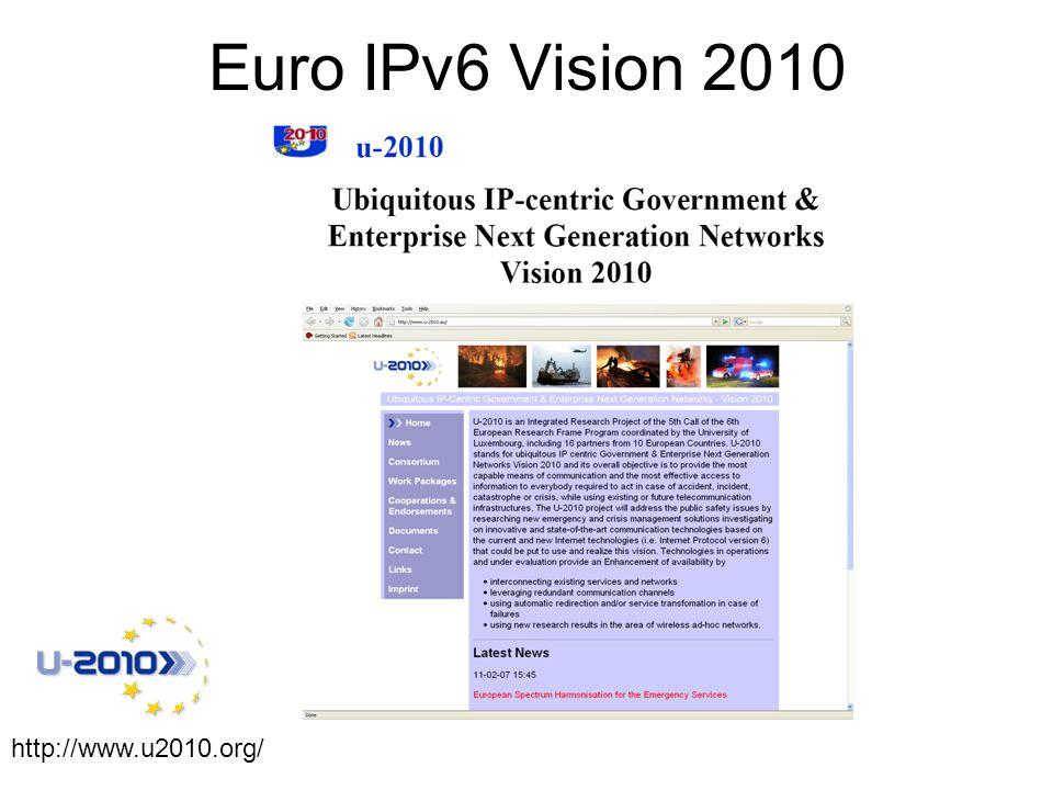 http://www.u2010.org/ Euro IPv6 Vision 2010