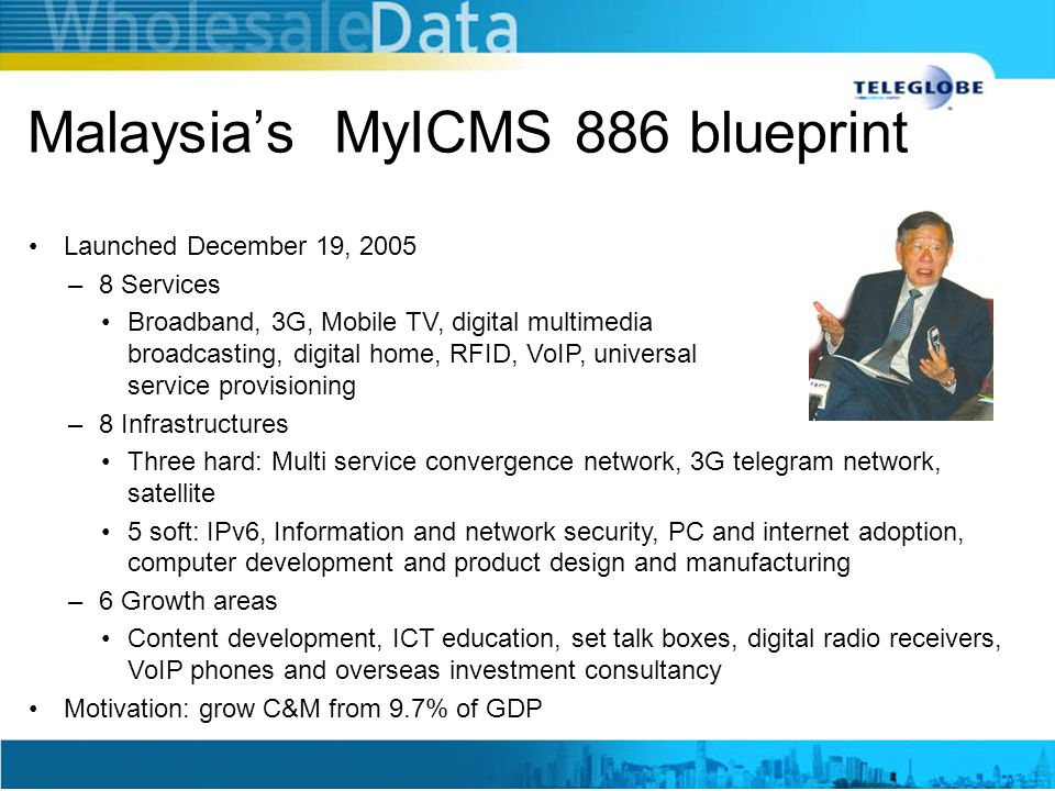 Malaysia's MyICMS 886 blueprint Launched December 19, 2005 –8 Services Broadband, 3G, Mobile TV, digital multimedia broadcasting, digital home, RFID,