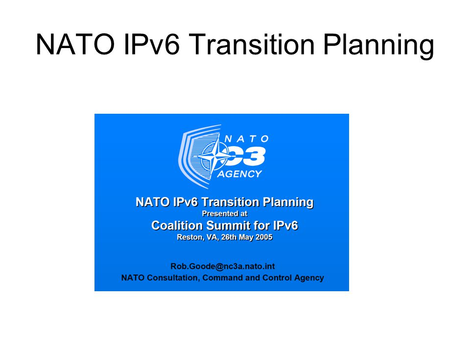 NATO IPv6 Transition Planning