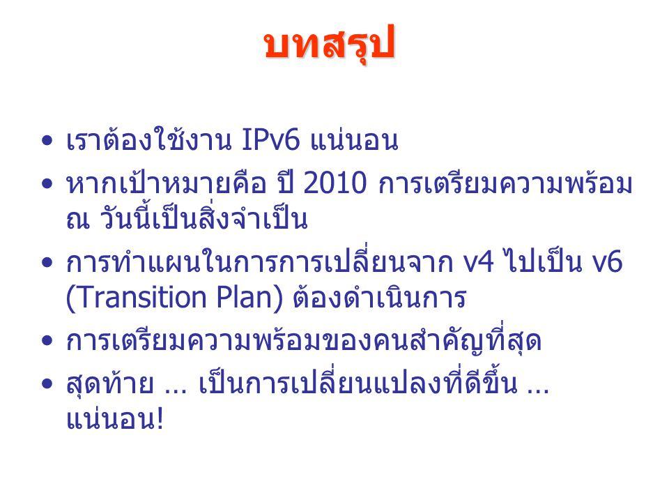 บทสรุป เราต้องใช้งาน IPv6 แน่นอน หากเป้าหมายคือ ปี 2010 การเตรียมความพร้อม ณ วันนี้เป็นสิ่งจำเป็น การทำแผนในการการเปลี่ยนจาก v4 ไปเป็น v6 (Transition Plan) ต้องดำเนินการ การเตรียมความพร้อมของคนสำคัญที่สุด สุดท้าย … เป็นการเปลี่ยนแปลงที่ดีขึ้น … แน่นอน!