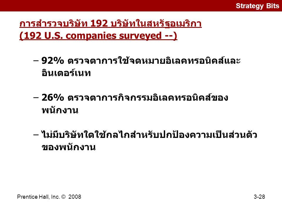 Prentice Hall, Inc.© 20083-28 Strategy Bits การสำรวจบริษัท 192 บริษัทในสหรัฐอเมริกา (192 U.S.