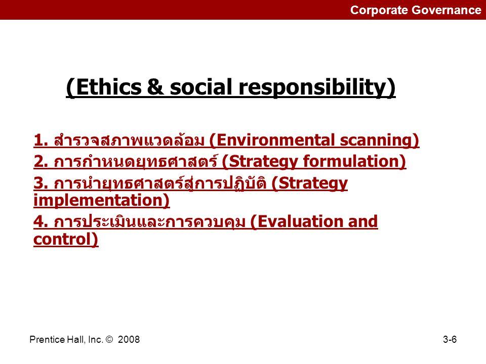 Prentice Hall, Inc.© 20083-6 Corporate Governance (Ethics & social responsibility) 1.
