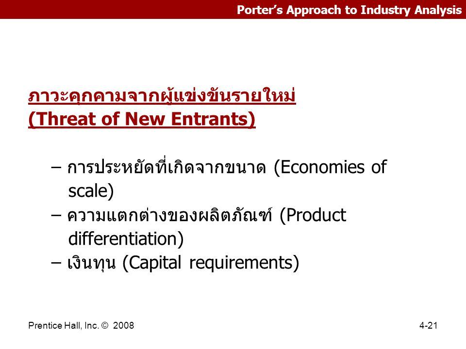 Prentice Hall, Inc. © 20084-21 Porter's Approach to Industry Analysis ภาวะคุกคามจากผู้แข่งขันรายใหม่ (Threat of New Entrants) – การประหยัดที่เกิดจากขน