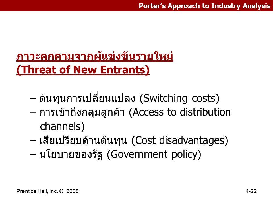 Prentice Hall, Inc. © 20084-22 Porter's Approach to Industry Analysis ภาวะคุกคามจากผู้แข่งขันรายใหม่ (Threat of New Entrants) – ต้นทุนการเปลี่ยนแปลง (