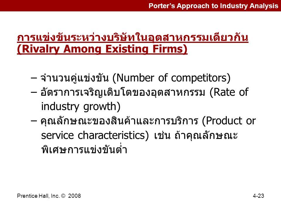 Prentice Hall, Inc. © 20084-23 Porter's Approach to Industry Analysis การแข่งขันระหว่างบริษัทในอุตสาหกรรมเดียวกัน (Rivalry Among Existing Firms) – จำน