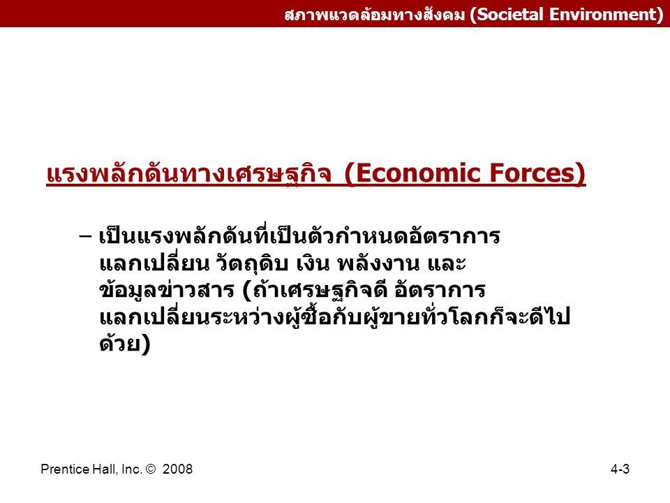 Prentice Hall, Inc. © 20084-3 สภาพแวดล้อมทางสังคม (Societal Environment) แรงพลักดันทางเศรษฐกิจ (Economic Forces) – เป็นแรงพลักดันที่เป็นตัวกำหนดอัตราก