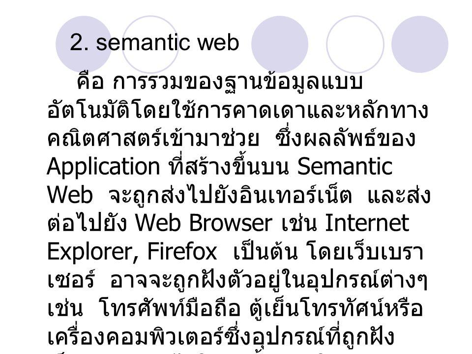 คือ การรวมของฐานข้อมูลแบบ อัตโนมัติโดยใช้การคาดเดาและหลักทาง คณิตศาสตร์เข้ามาช่วย ซึ่งผลลัพธ์ของ Application ที่สร้างขึ้นบน Semantic Web จะถูกส่งไปยัง