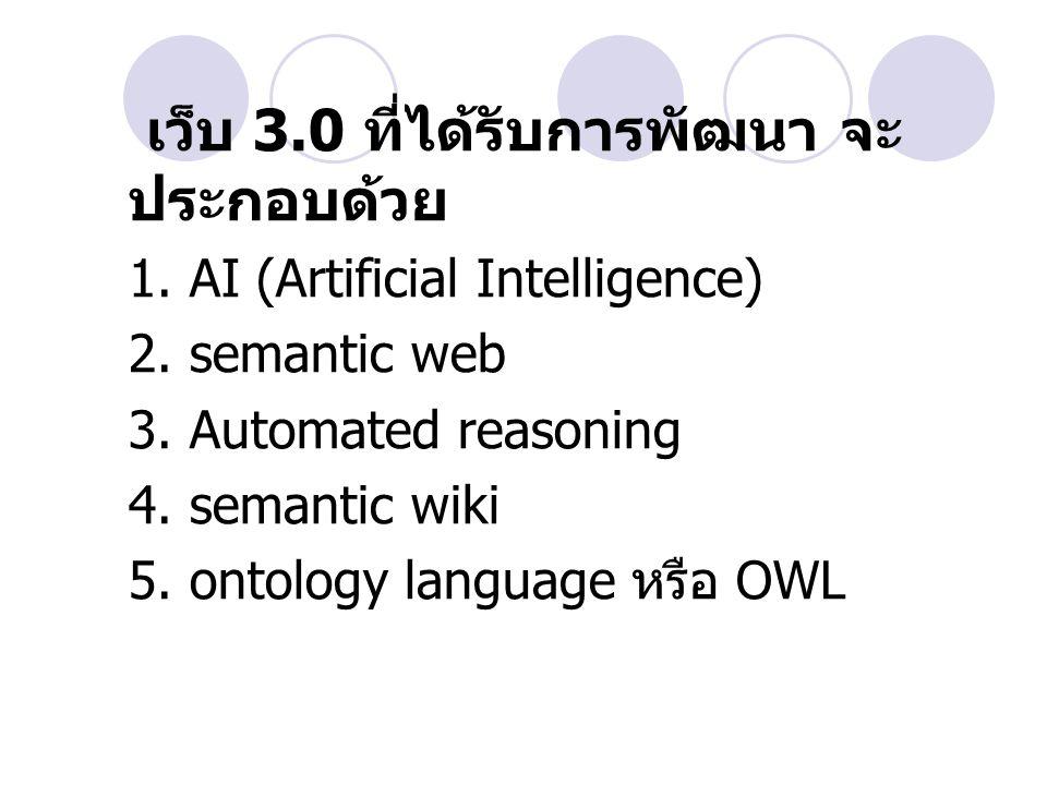 เว็บ 3.0 ที่ได้รับการพัฒนา จะ ประกอบด้วย 1. AI (Artificial Intelligence) 2. semantic web 3. Automated reasoning 4. semantic wiki 5. ontology language