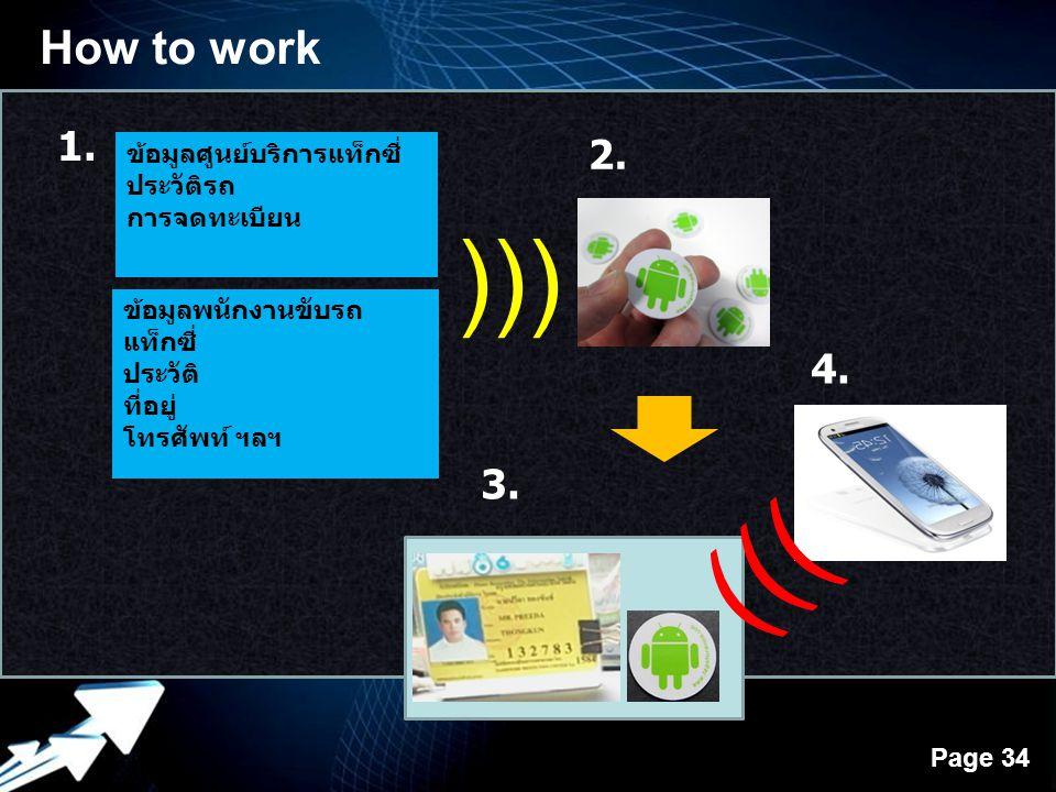 Powerpoint Templates Page 34 How to work ข้อมูลศูนย์บริการแท็กซี่ ประวัติรถ การจดทะเบียน ข้อมูลพนักงานขับรถ แท็กซี่ ประวัติ ที่อยู่ โทรศัพท์ ฯลฯ 1. ))