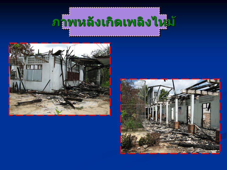 ผลกระทบที่เกิดขึ้นกับครู บุคลากร ทางการศึกษา นักเรียนและสถานศึกษา ที่ถูกลอบวางเพลิง 4 มกราคม 2547 – 30 เมษายน 2550 จังหวัด ครู / บุคลาก ร เสียชีวิ ต ครู / บุคลา กร บาดเจ็ บ นักเรี ยน เสียชี วิต นักเรีย น บาดเจ็ บ รวม โรงเรีย นที่ถูก ลอบ วางเพ ลิง ยะลา24924278446 นราธิวา ส 15318337163 ปัตตานี2841985950 สงขลา เขต 3 11--23 รวม68176170216162