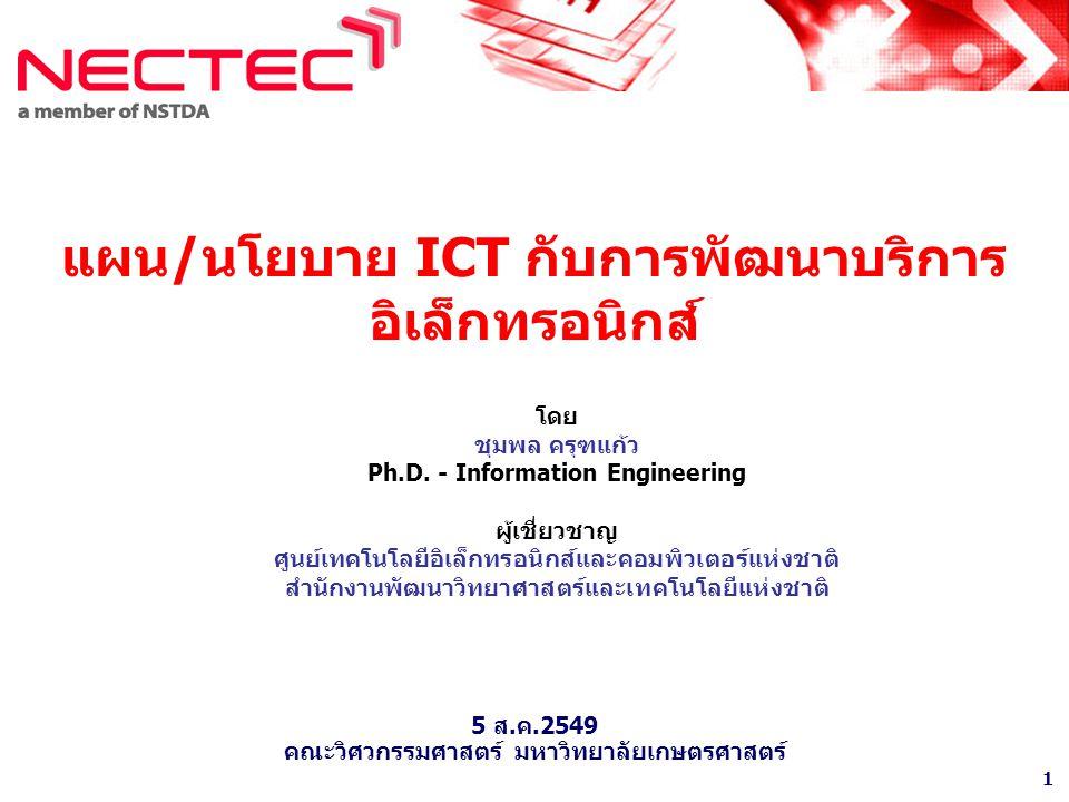 1 แผน/นโยบาย ICT กับการพัฒนาบริการ อิเล็กทรอนิกส์ โดย ชุมพล ครุฑแก้ว Ph.D.