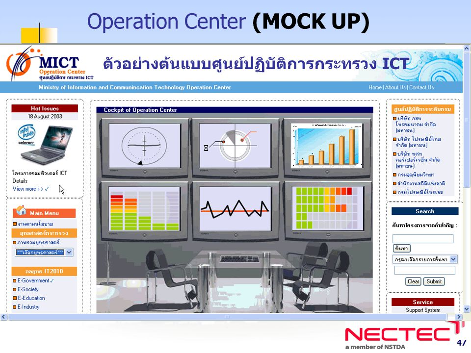 47 Operation Center (MOCK UP) ตัวอย่างต้นแบบศูนย์ปฏิบัติการกระทรวง ICT